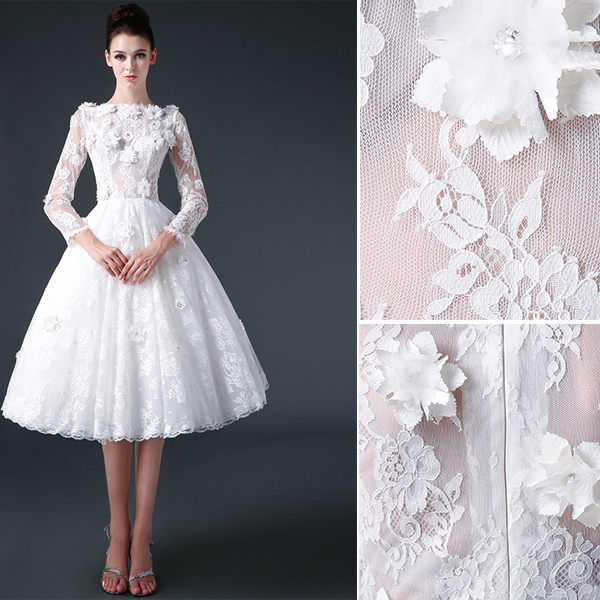 2015 A-line Square Neckline 3/4 Sleeves Lace & Flowers Short Wedding Dress