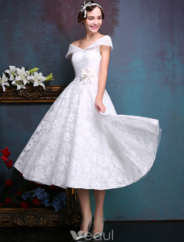 Beautiful Short Wedding Dresses 2016 Off The Shoulder White Lace