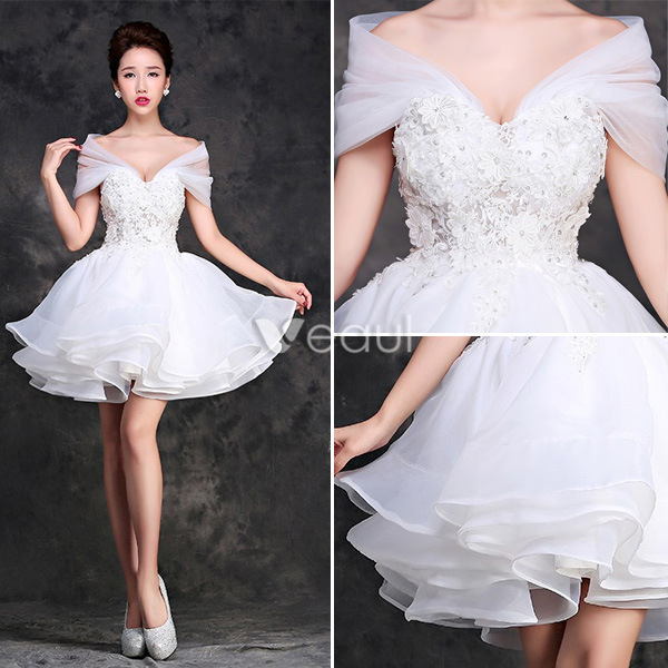 Charming Lace Wedding Dress 2016 Short Bridal Gown Off The Shoulder