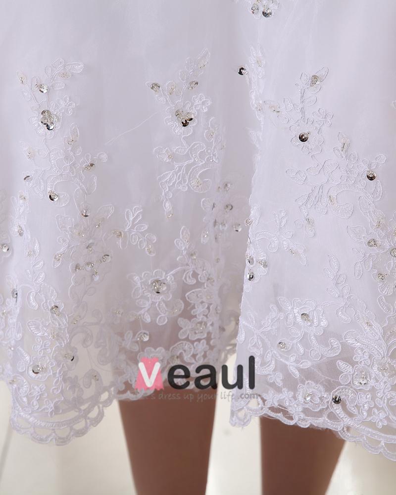 Charming Satin Yarn Beading Ruffle Sweetheart Short Bridal Gown Wedding Dress