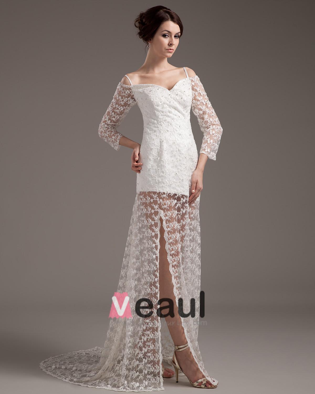 Beautiful A Line Sweetheart Satin Lace Short Mini Wedding Dress 1614120006