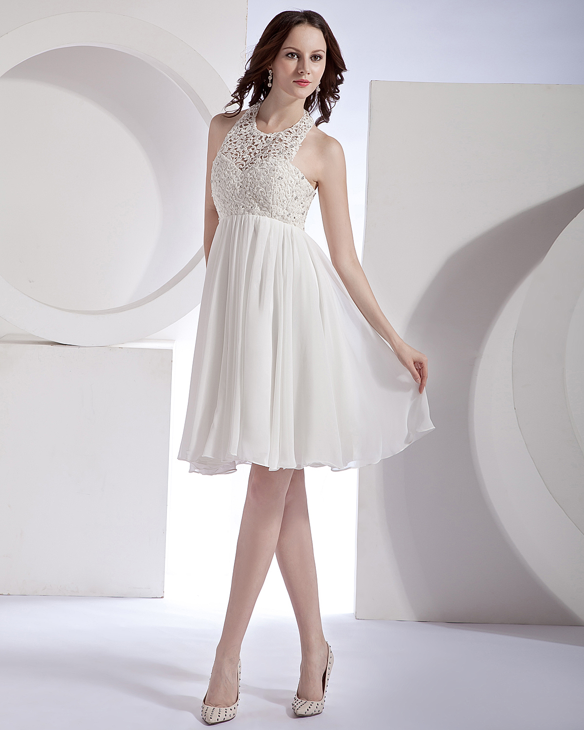 Hollow out organza chiffon lace halter mini bridal gown for Chiffon tulle wedding dress