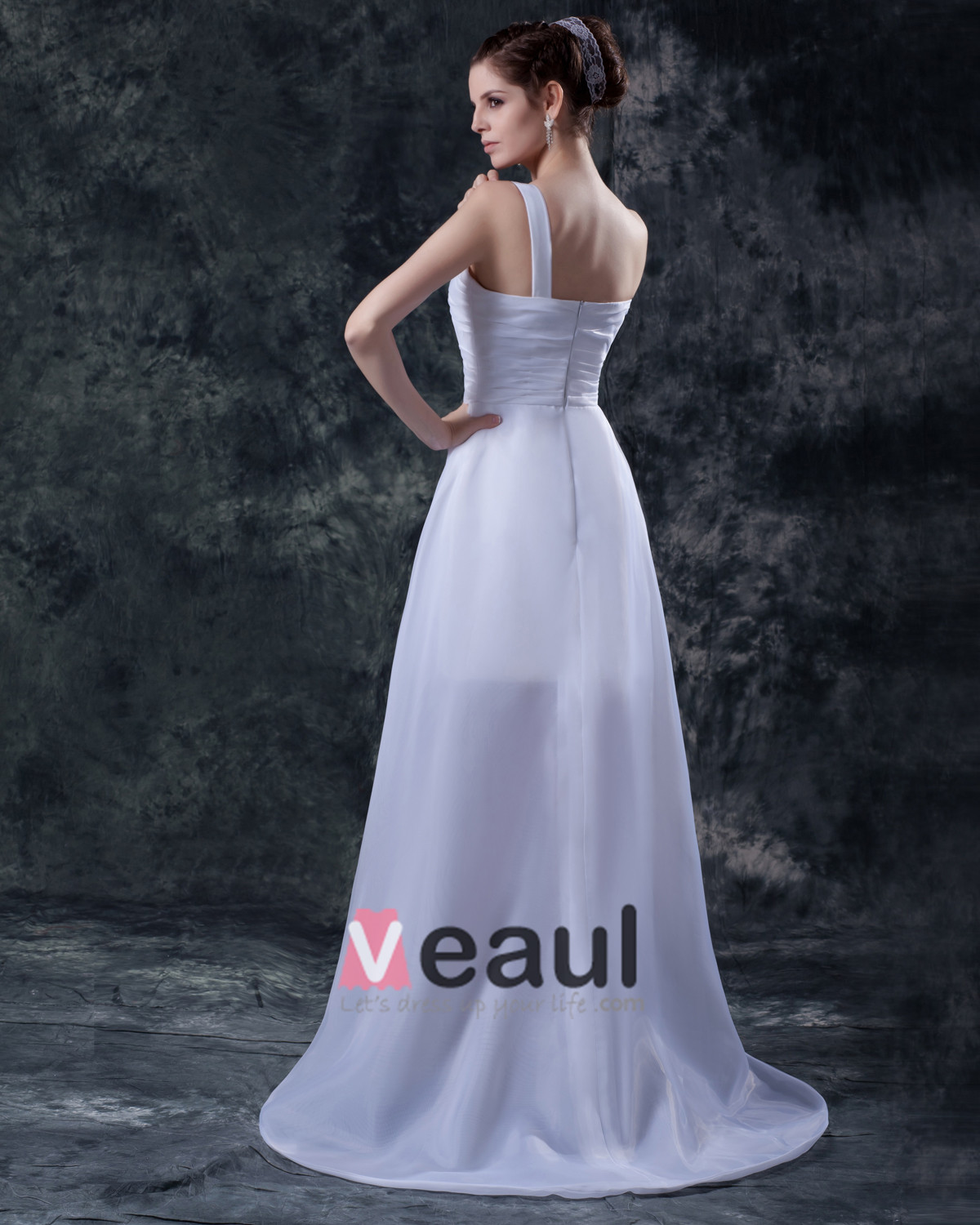 Taffeta Asymmetric Applique Strapless Short Bridal Gown