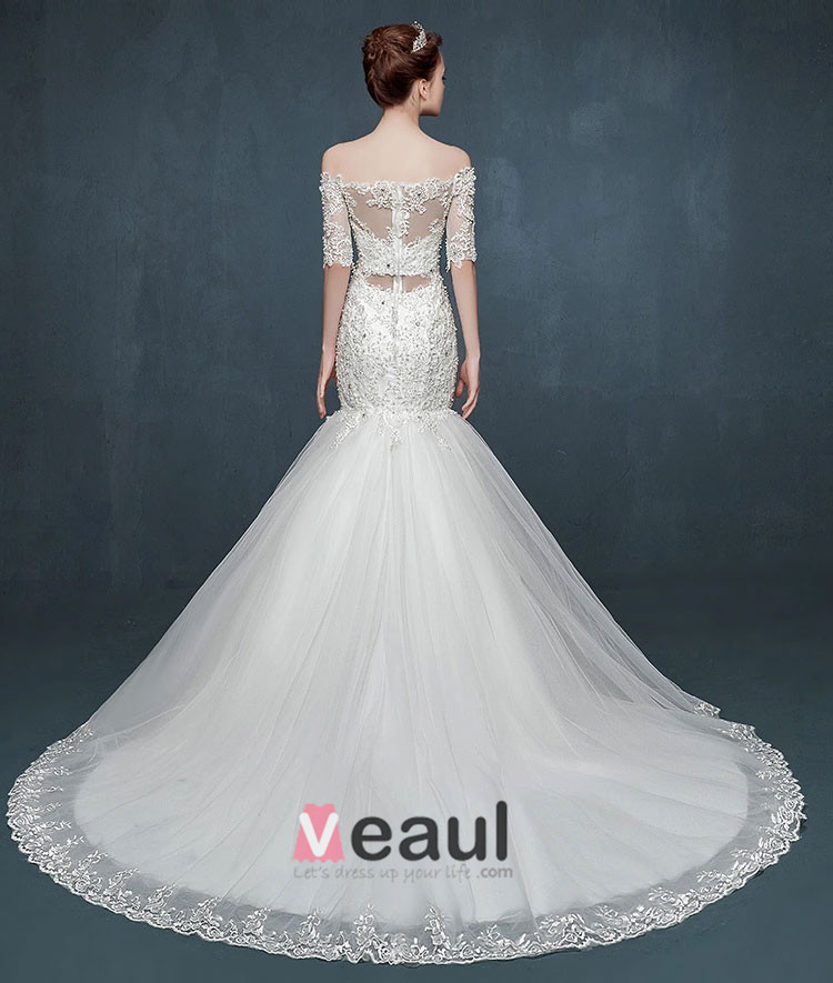 2015 Half Sleeve Word Shoulder Fishtail Lace Trailing Wedding Dress