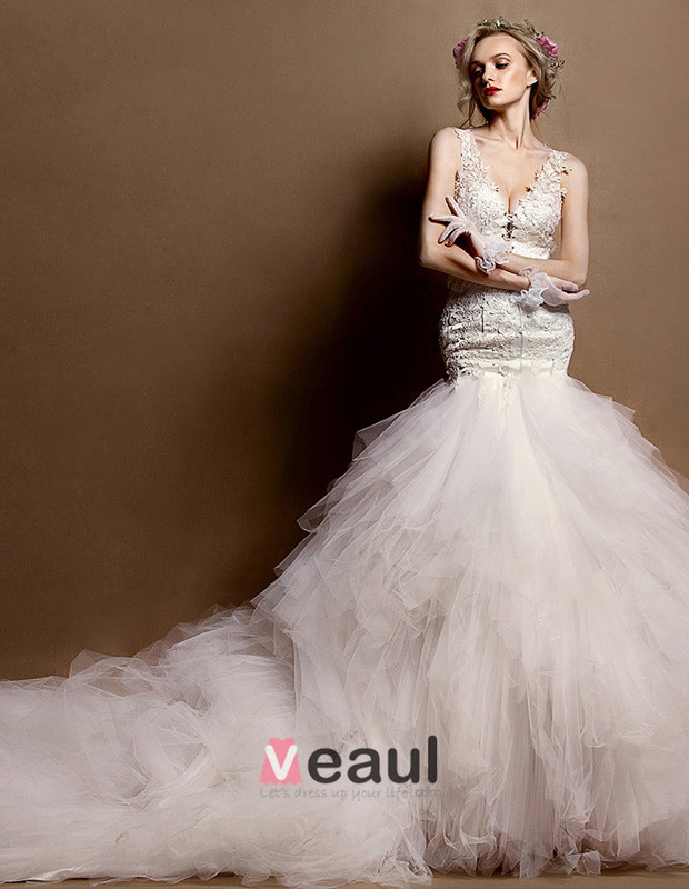 Mermaid Wedding Dress With Cathedral Train : Deep v neck lace trumpet mermaid cathedral train wedding dress
