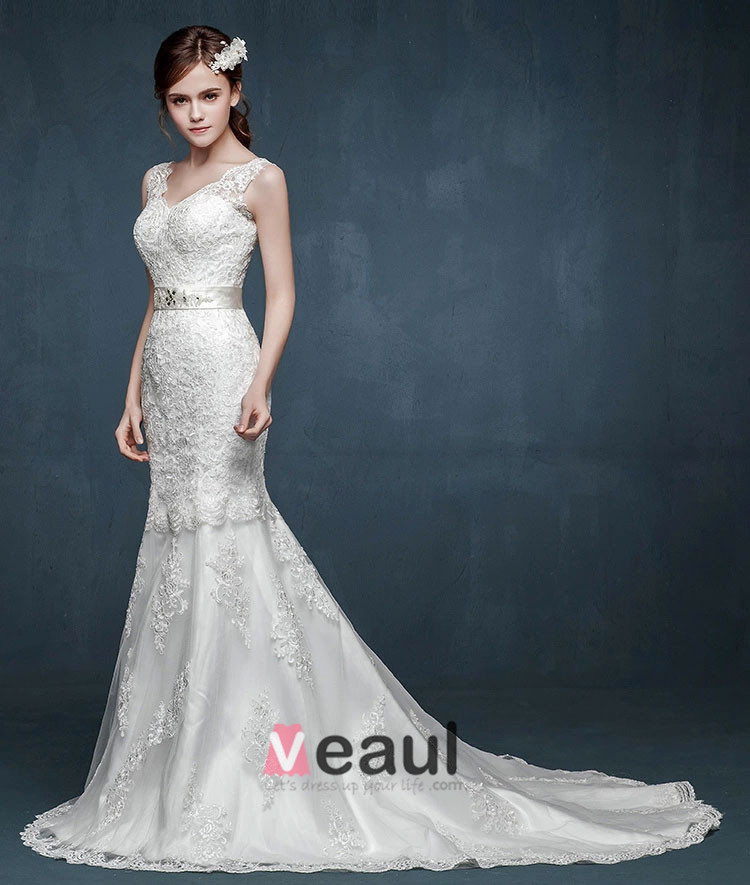 2015 The Bride Double Shoulder V-neck Straps Fishtail Wedding Dress Was Thin Slim Models