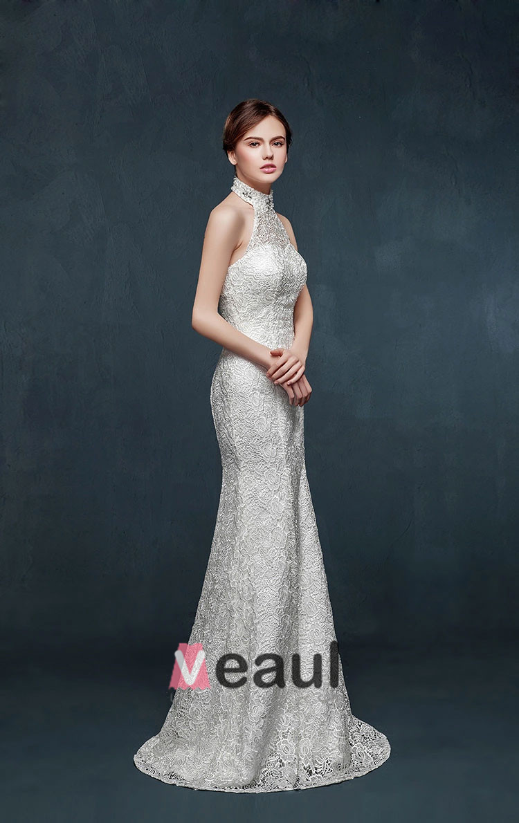 mermaid wedding dresses 2015 white halter mermaid wedding dress