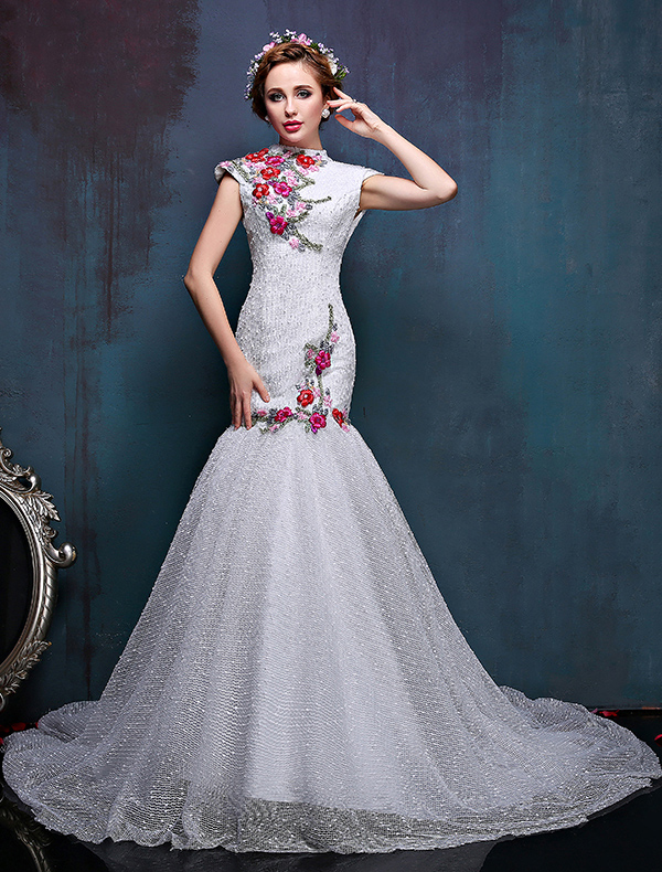 2016 High Neck Applique Colorful Flowers Improved Cheongsam Mermaid Wedding Dress