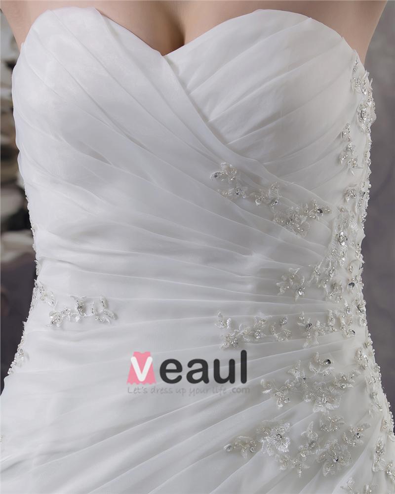 Beading Ruffles Applique Sweetheart Floor Length Yarn Mermaid Wedding Dress