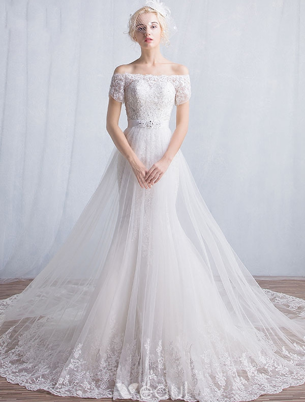 Elegant Mermaid Wedding Dresses 2016 Off The Shoulder Applique Lace Sequins Long Wedding Dress