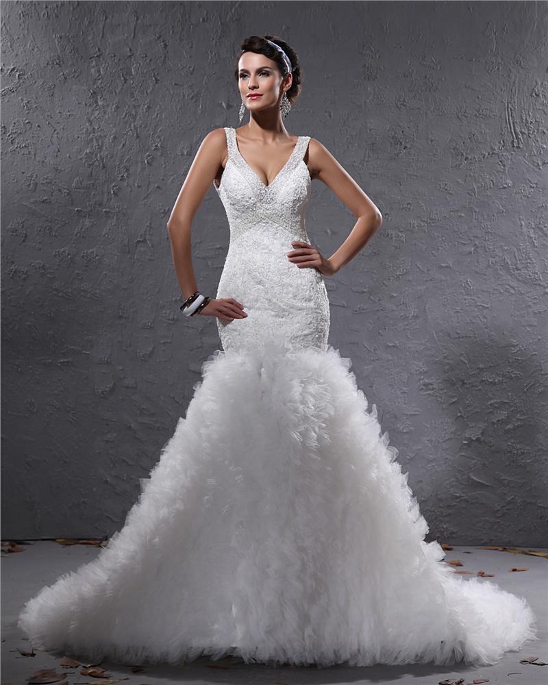 Elegant Yarn Charmeuse Applique Beaded V Neck Floor Length Mermaid Wedding Dress