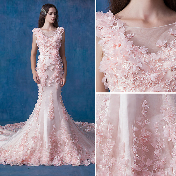 Glamorous Pink Wedding Dress Mermaid Organza Applique Flower Bridal Dress