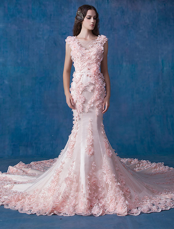 pink flower wedding dress glamorous pink wedding dress mermaid organza applique 6581