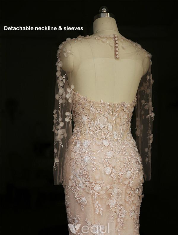 Glamorous Wedding Dresses 2016 Detachable Neckline & Sleeves Mermaid Lace Wedding Dress