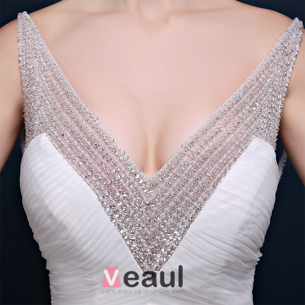 Glitter Mermaid Deep V-neck Backless Beading Sequin Lace Wedding Dress