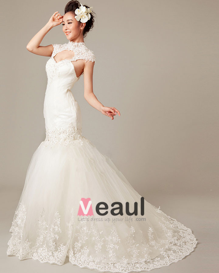 Graceful Applique Beading High Neck Tulle Mermaid Wedding Dress