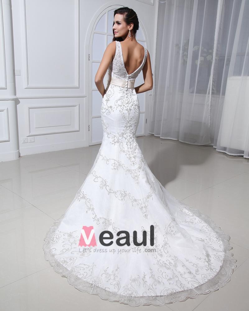 Lace Beading Applique V Neck Court Mermaid Bridal Gown Wedding Dresses