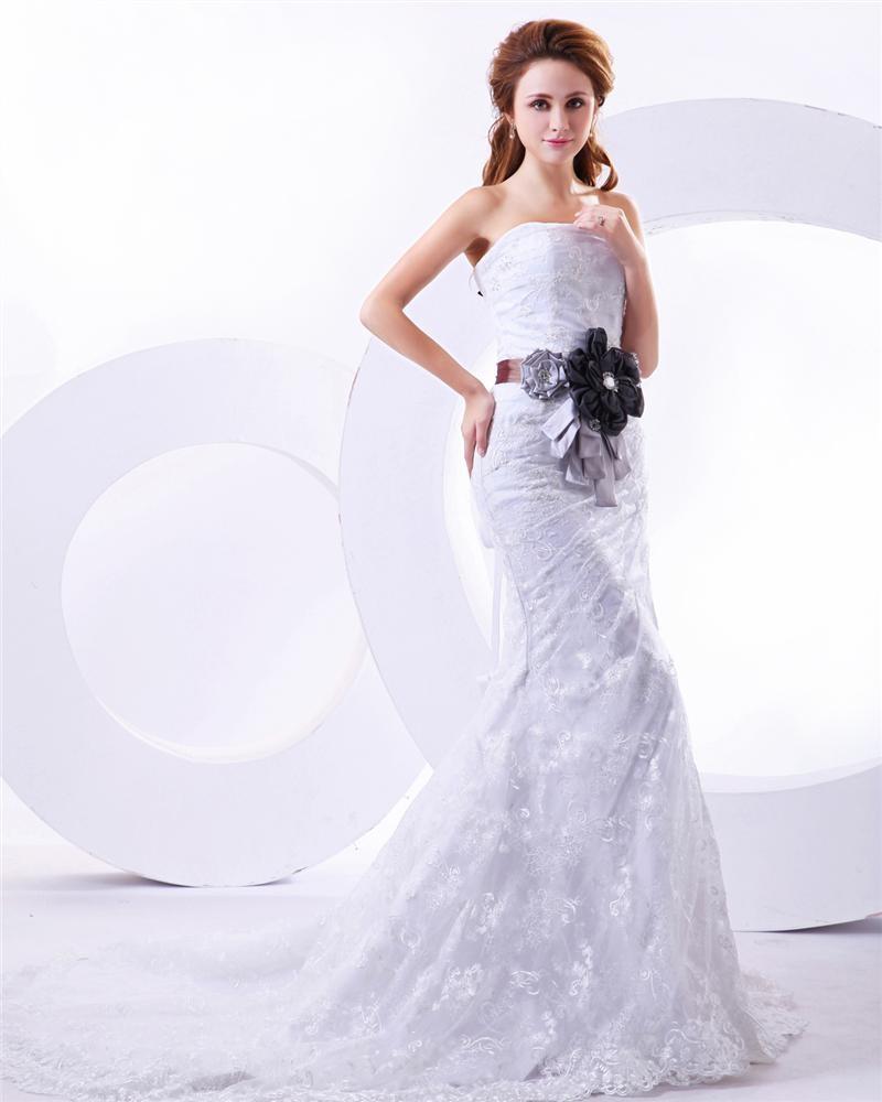lace flowers sweetheart mermaid chapel train wedding dress