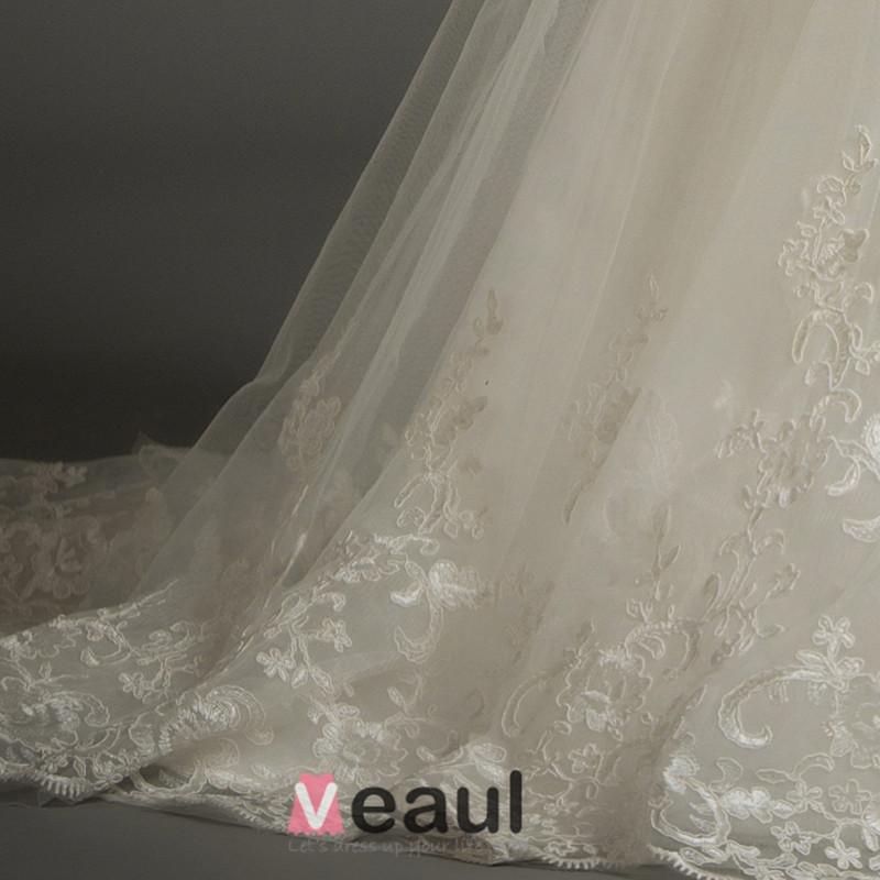 Mermaid Square Neckline 3/4 Sleeves Applique Lace Wedding Dress