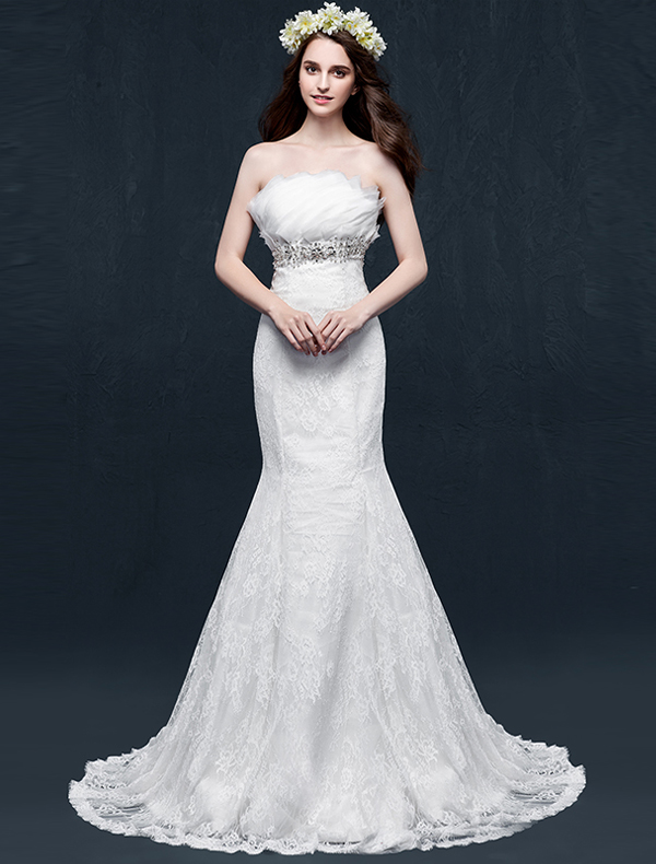Mermaid Strapless Backless Beading Crystal Ruffles Lace Wedding Dress