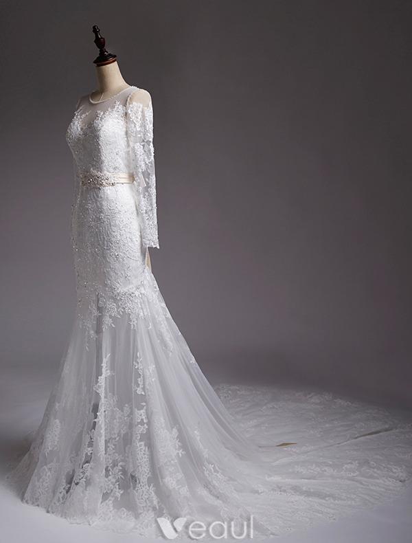 Mermaid Wedding Dresses 2016 Beading Scoop Neckline Applique Lace Sequins Bridal Gown With Sash