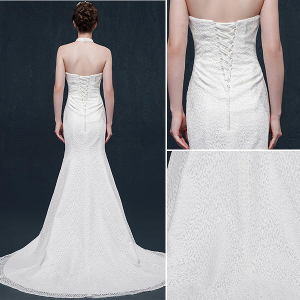 Mermaid halter beading pearl rhinestone crystal lace wedding Dress