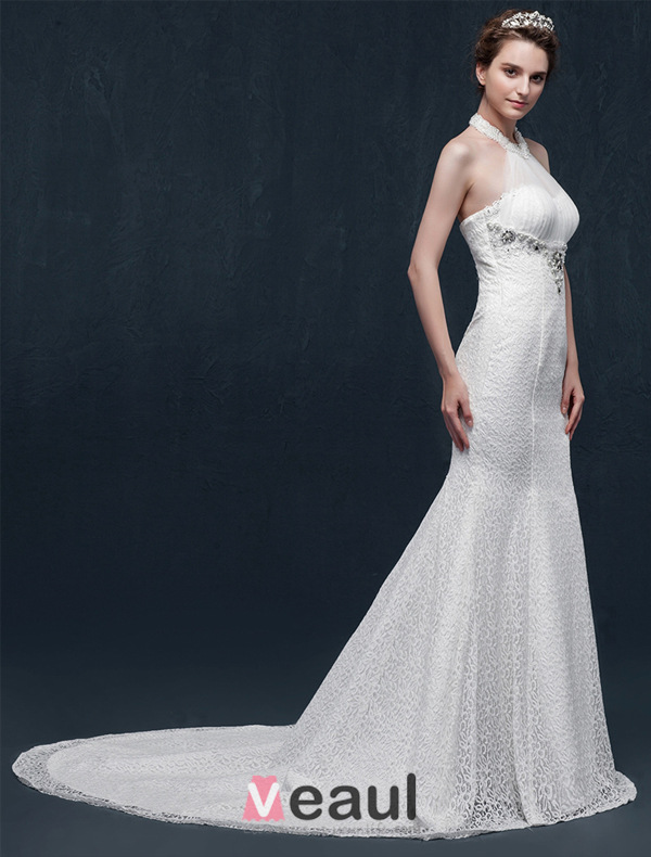 Mermaid Halter Beading Pearl Rhinestone Crystal Lace Wedding Dress 151508004