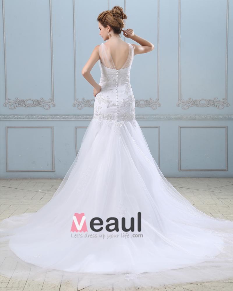 Ruffle Applique Single Breasted Back Satin Grenadine Mermaid Wedding Dress
