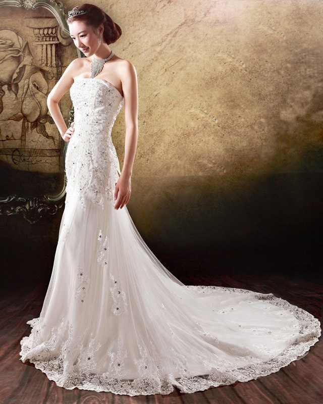 Satin Tulle Beading Flower Rhinestone Strapless Court Train Mermaid Wedding Dress