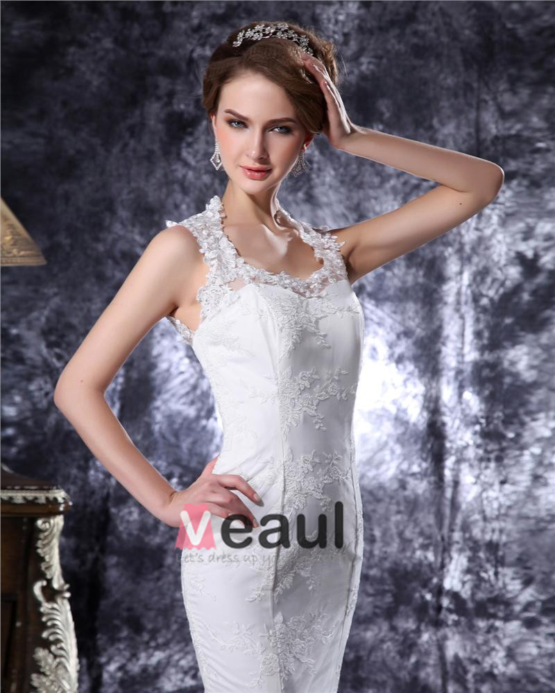 Square Collar Beading Embroidery Lace Mermaid Wedding Dress