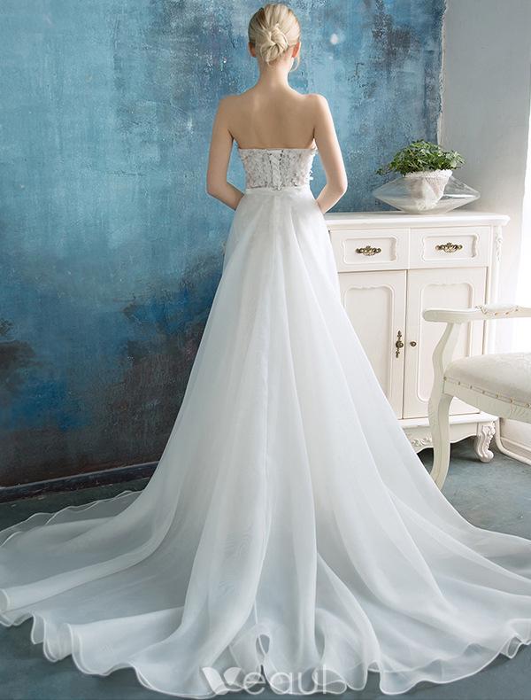 Mermaid Wedding Dress With Detachable Train : Stunning beach wedding dresses mermaid strapless