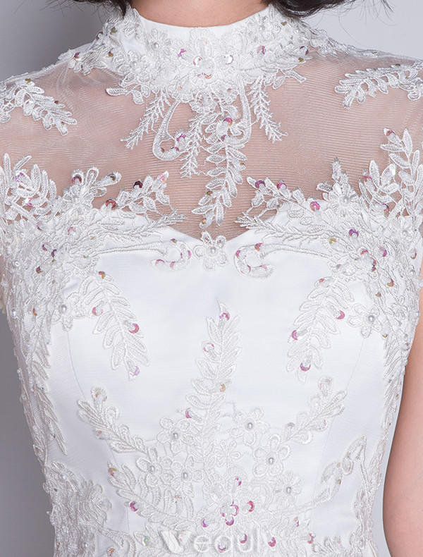 Stunning Mermaid Wedding Dresses 2017 High Neck Applique Lace Sequins Bridal Gowns