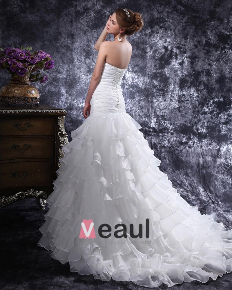 Mermaid Wedding Dresses Pleated : Sweetheart beading pleated floor length organza mermaid