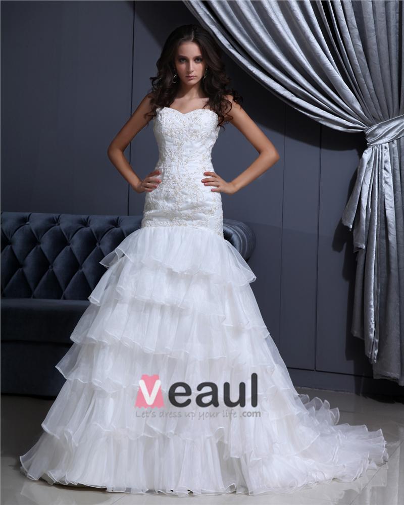Mermaid Wedding Dress With Cathedral Train : Cathedral train applique ruffle layered organza woman mermaid wedding
