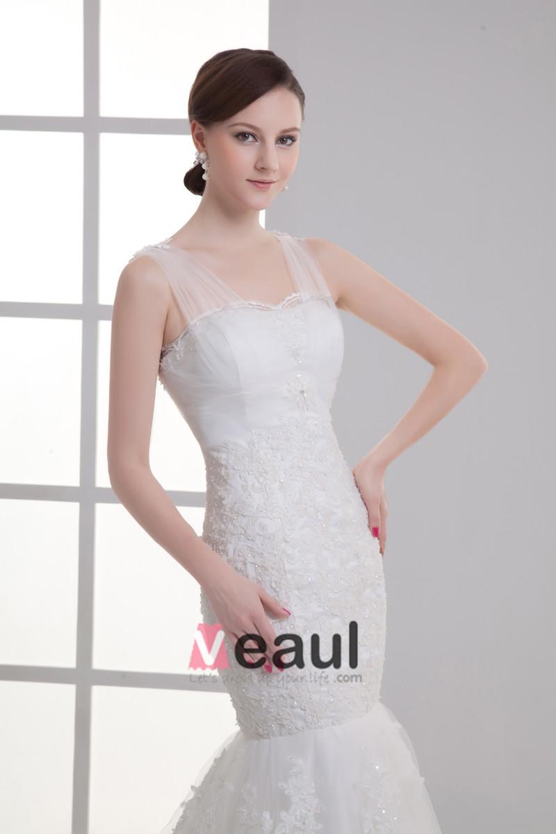 Tulle Applique Beading V Neck Court Train Mermaid Wedding Dress