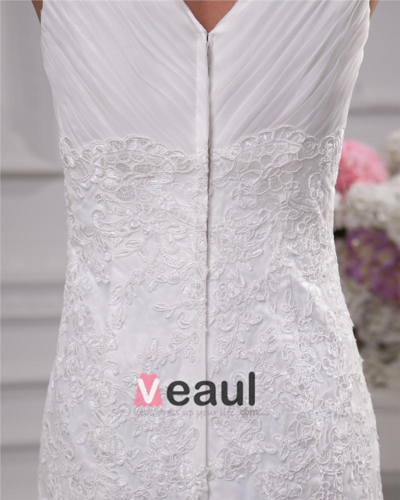 V Neckline Floor Length Lace Satin Women Mermaid Wedding Dress