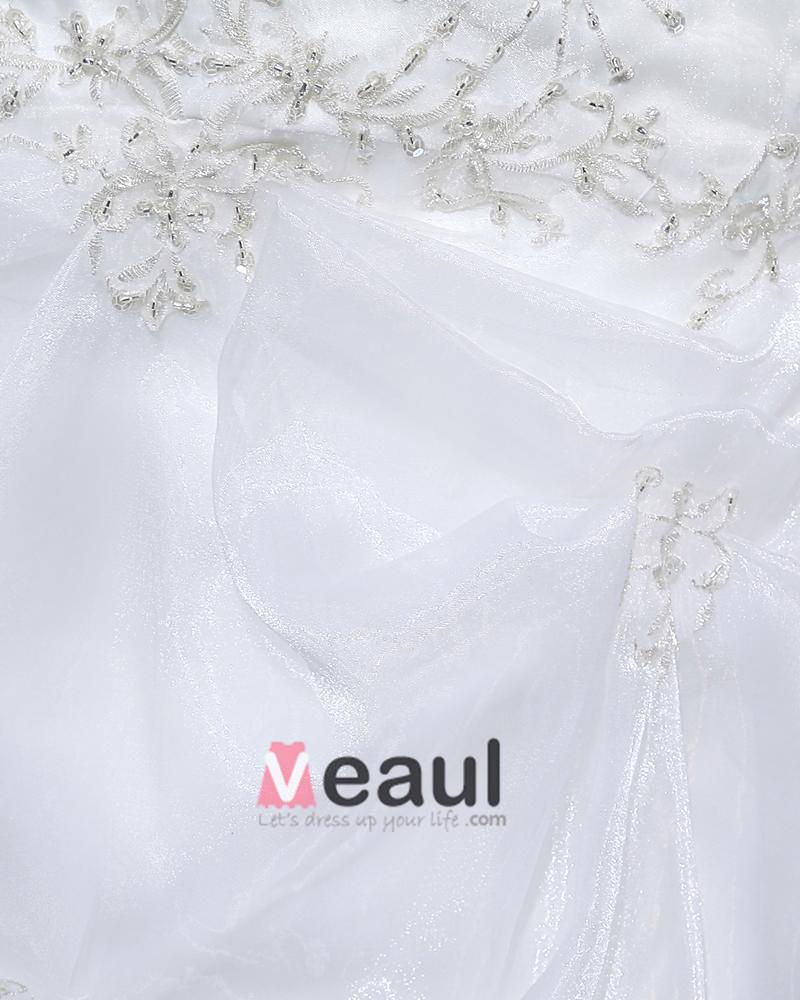 Yarn Ruffles V Neck Court Mermaid Bridal Gown Wedding Dress