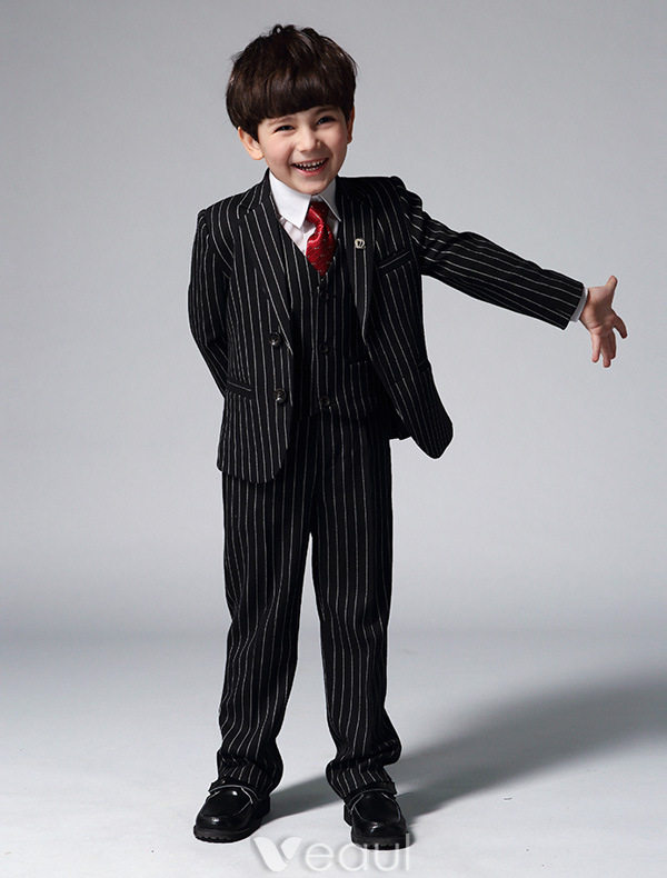 Boy's Black Suits With White Stripes Children's Suits 4 Sets