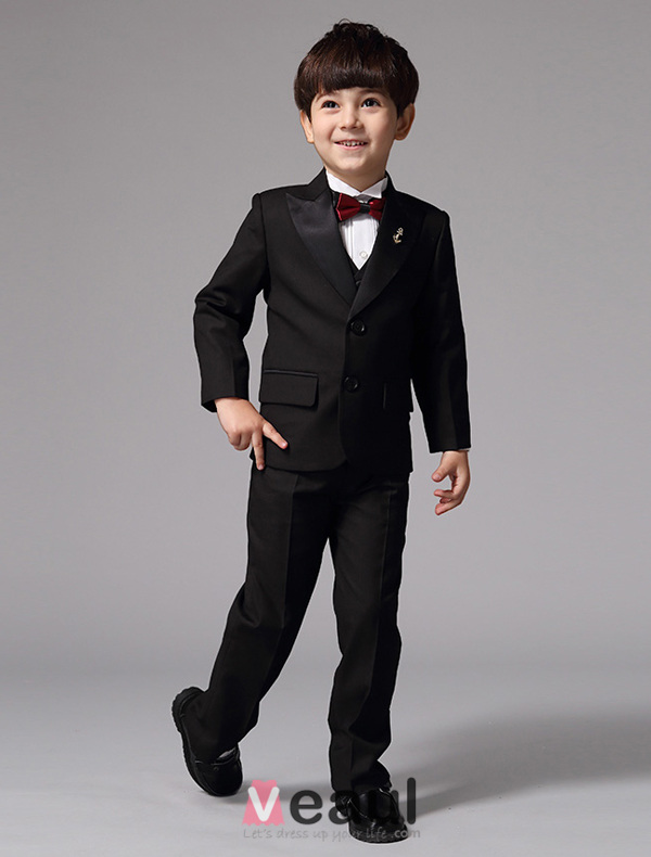 Boy Wedding Suits Red Tie Ring Bearer Suits 5 Sets