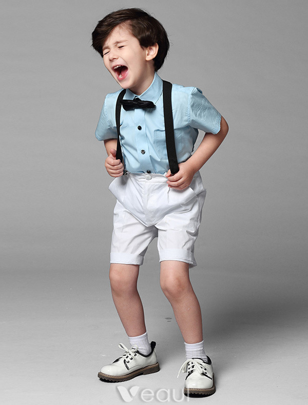 Boys Pink Shirt With Black Bow Tie Childrens Suits 4 Sets