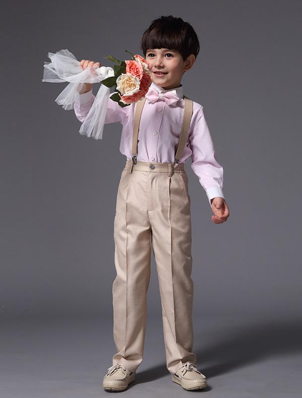 Boys Pink Shirt With Khaki Pants  Children's Suits 4 Sets
