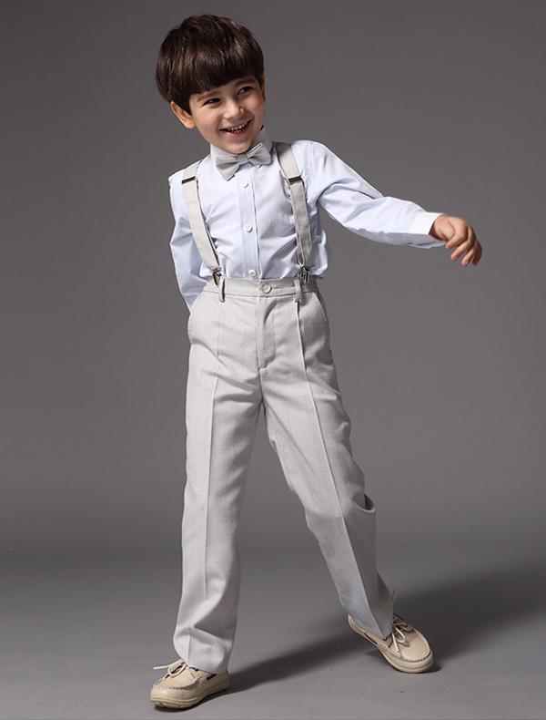 Boys Shirt With Grey Pants Children's Suits 4 Sets
