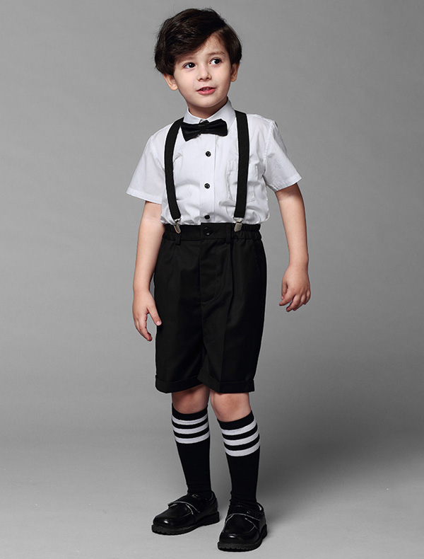 Boys White Shirt With Black Pants Childrens Suits 4 Sets