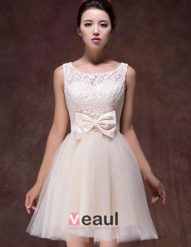 2015 (6 Color Options) A-line Shoulders Knee Length Bow Bridesmaid Dress