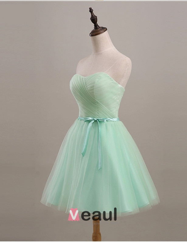 2015 Simple Sweetheart Bow Sash Tulle Bridesmaid Dresses