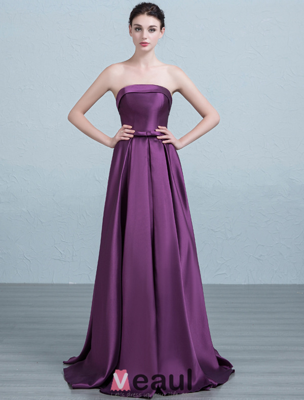2016 Simple Strapless Ruffles Red Thick Satin Bridesmaid Dress With Bow Sash