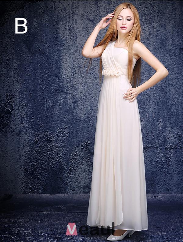 6 Styles Of A-line Chiffon Light Champagne Bridesmaid Dresses