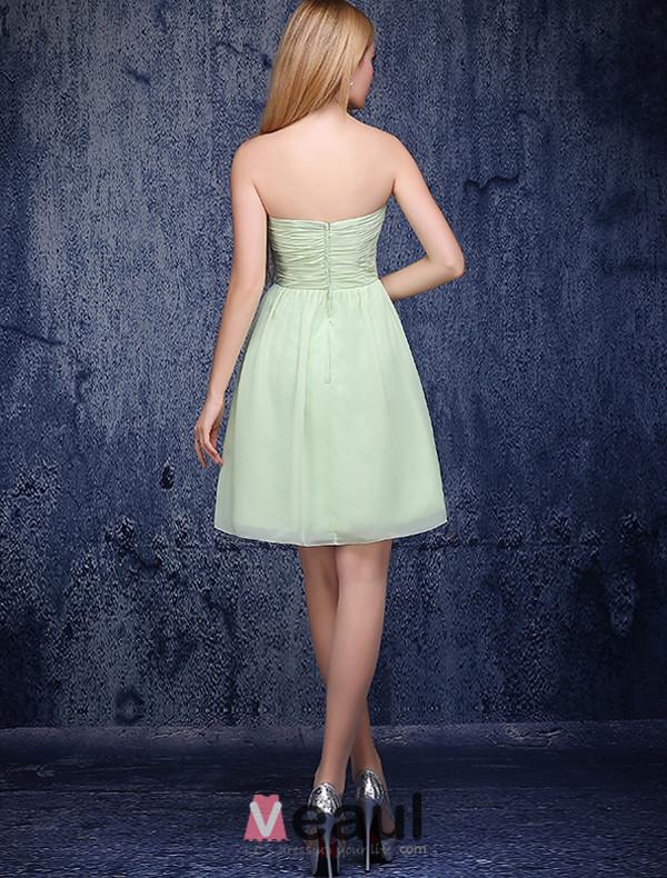 A-line Sweetheart Ruffle Handmade Flower Green Bridesmaid Dress