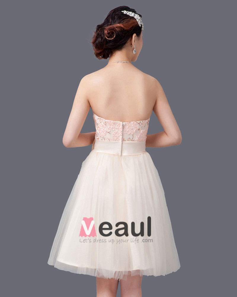Applique Bow Decoration Strapless Knee Length Tulle Bridesmaid Dress