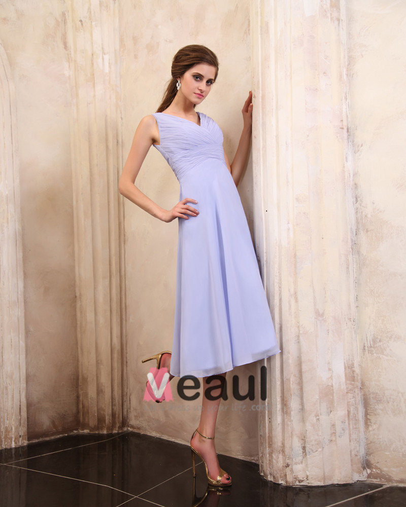Beautiful Ruffle V-Neck Tea-length Chiffon Mothers of Bride Special Guests Dress